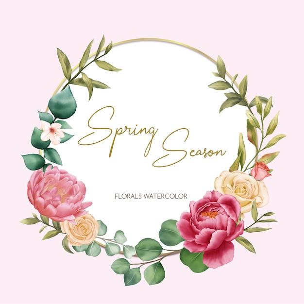 Temporada de primavera con adornos florales de acuarela Vector Premium