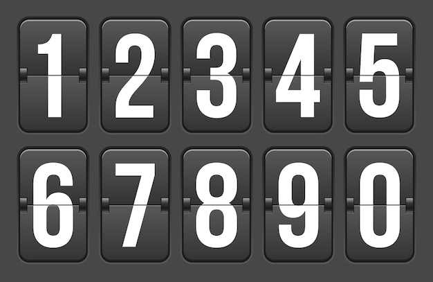 Temporizador de cuenta atrás con números, contador de reloj. Vector Premium