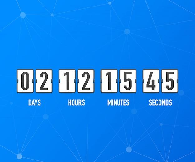 Temporizador de cuenta regresiva. ui aplicación digital cuenta regresiva medidor de tablero circular con diagrama circular circular de tiempo. marcador de día, hora, minutos y segundos para la página web próximamente plantilla de evento Vector Premium