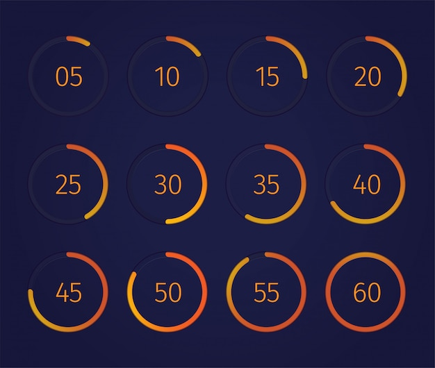 Temporizador de reloj digital con símbolos de tecnología moderna realista aislado vector gratuito