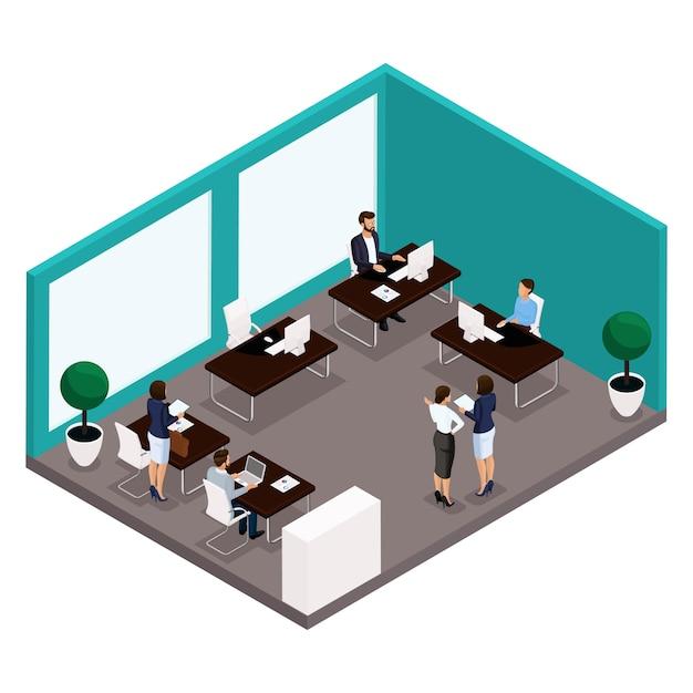 Tendencia isométrica de personas, una habitación, una oficina vista posterior de una gran sala de oficina, trabajo, oficinistas, empresarios y empresaria en trajes aislados Vector Premium