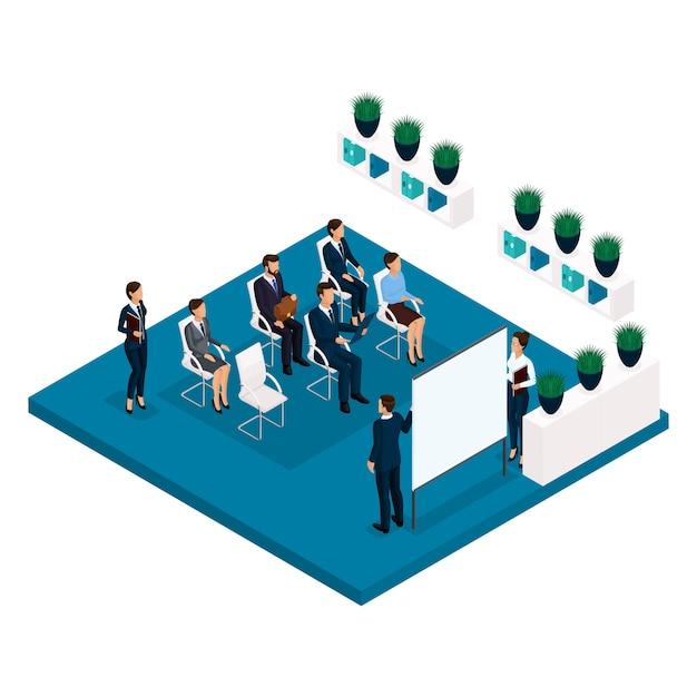 Tendencia isométrica de personas, una habitación, una vista posterior de los coachers de la oficina, una gran sala de oficina, enseñanza, capacitación, reuniones, conferencias, asesor comercial, negocios y empresaria en trajes Vector Premium