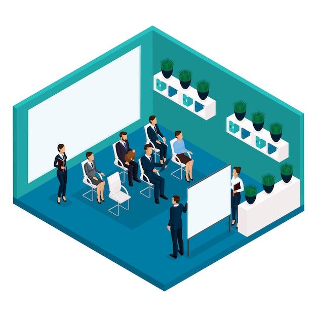 Tendencia isométrica de personas, una habitación, una vista posterior de los coachers de la oficina, una gran sala de oficina, enseñanza, capacitación, reuniones, conferencias, asesor comercial, negocios y empresaria Vector Premium