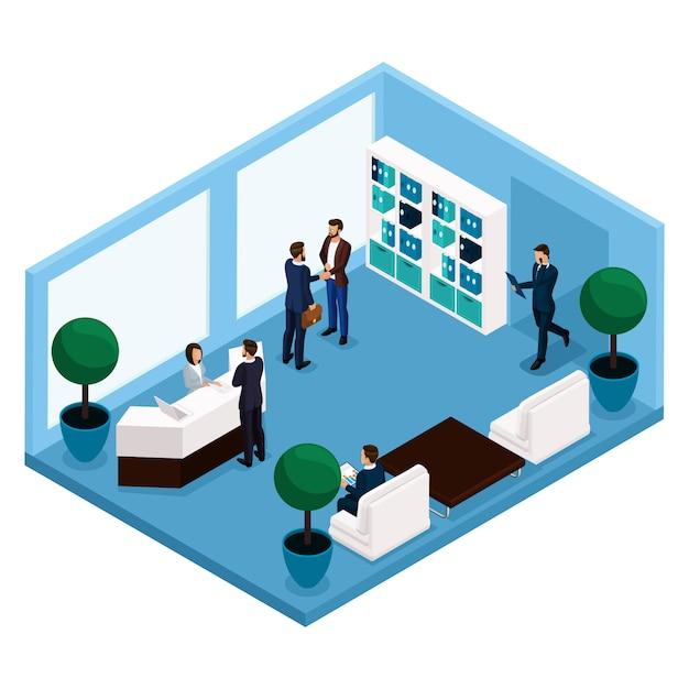 Tendencia isométrica de personas, una sala de comunicación vista frontal de la sala, una gran sala de oficina, recepción, oficinistas, empresarios y empresaria en trajes aislados Vector Premium