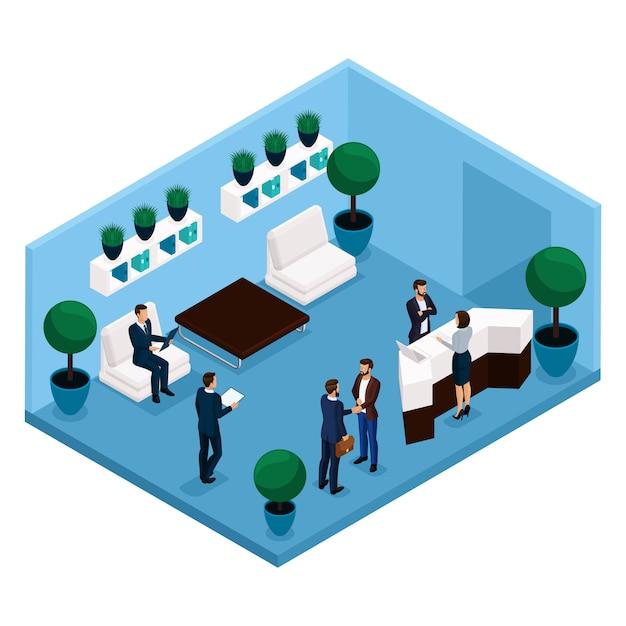 Tendencia isométrica de personas, una sala de comunicación vista trasera, sala de oficina grande, recepción, trabajadores de oficina, empresarios y empresaria en trajes aislados Vector Premium