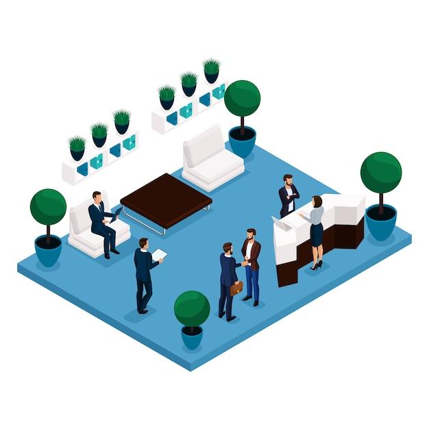 Tendencia isométrica de personas, vista posterior de la sala de comunicación de concepto, sala de oficina grande, recepción, trabajadores de oficina empresarios y empresaria en trajes aislados en una luz Vector Premium