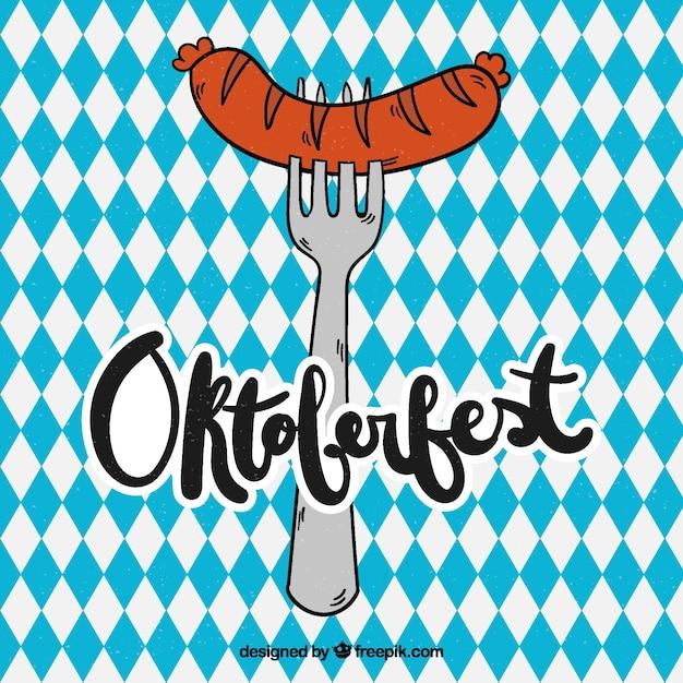 Tenedor con salchicha en oktoberfest dibujado a mano vector gratuito