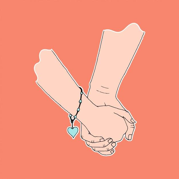 Tenencia de la mano de pareja, símbolo de afecto y cuidado, color plano simple Vector Premium