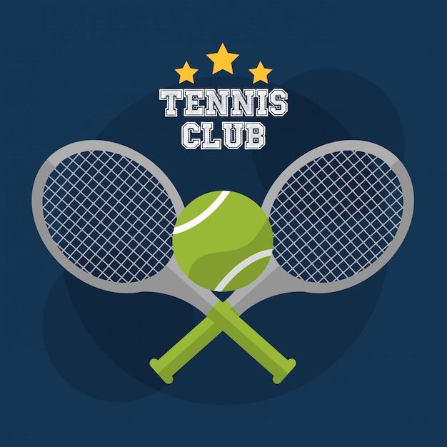 Tenis club raqueta cross ball juego competencia vector gratuito