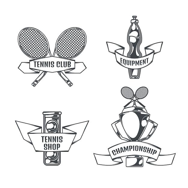 Tenis conjunto de cuatro logotipos aislados en estilo vintage vector gratuito