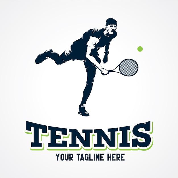 Tennis player logo vector, premium silhouette vector Vector Premium