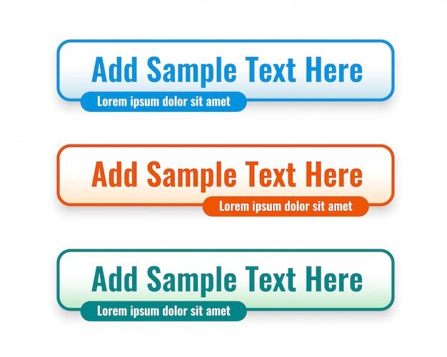 Tercer banner web inferior en tres colores vector gratuito