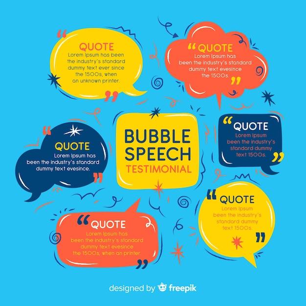 Testimonial de burbuja de texto vector gratuito