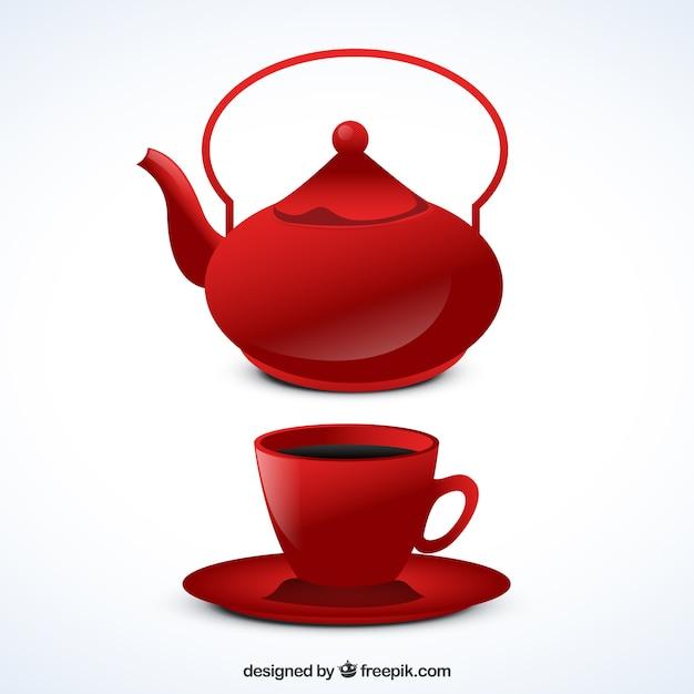 Tetera roja y taza | Descargar Vectores gratis