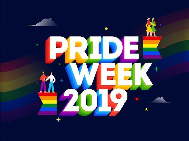 Texto 3d de pride week 2019 con parejas de gays y lesbianas. Vector Premium