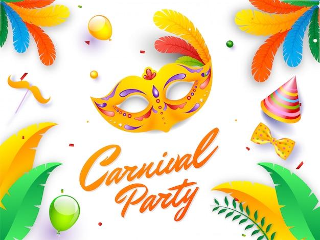 Texto de caligrafía fiesta de carnaval con máscara, sombrero, corbata de moño, globos y bigote sobre fondo blanco. Vector Premium