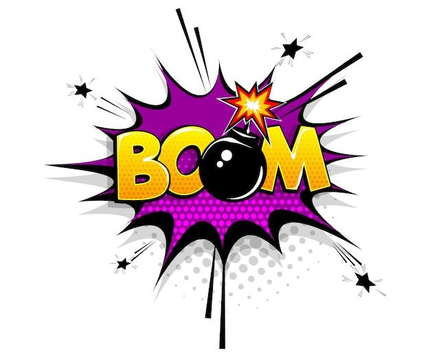 Texto cómico boom bomba en estilo pop art de dibujos animados de burbujas de discurso Vector Premium