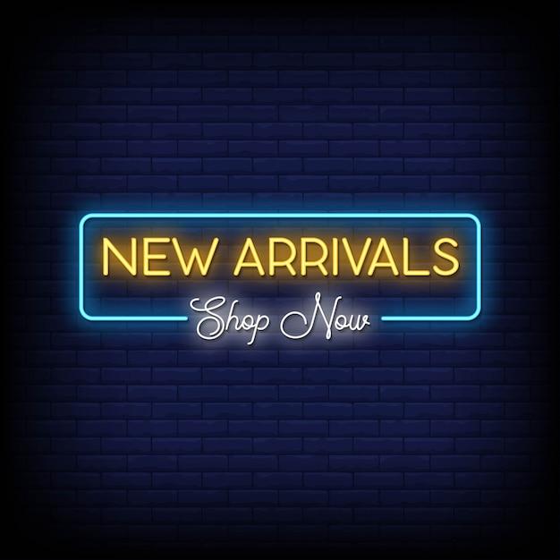Texto de estilo de letreros de neón de nuevas llegadas Vector Premium