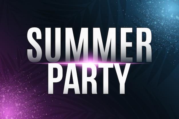 Texto de fiesta de verano con efecto de luz de neón Vector Premium