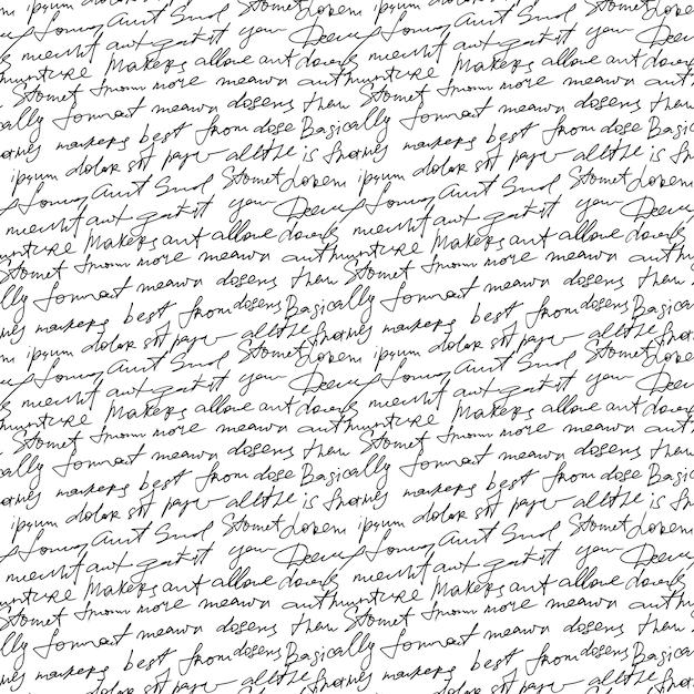 Texto manuscrito negro sobre fondo blanco de repetición. Vector Premium