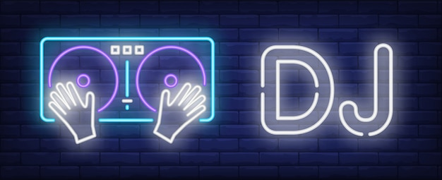 Texto de neón de dj con tocadiscos vector gratuito