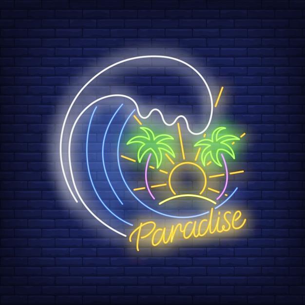 Texto de neón del paraíso con olas, palmeras y sol. vector gratuito