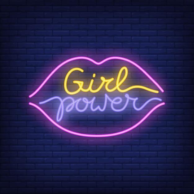 Texto de neón de poder chica en labios delinear logotipo. letrero de neón, anuncio brillante noche vector gratuito