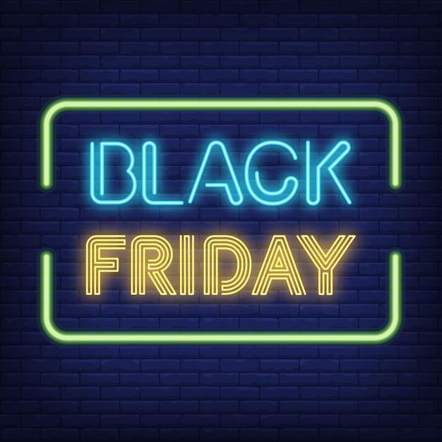 Texto de neón de viernes negro en marco vector gratuito