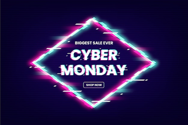 Texto promocional de la oferta de glitch cyber monday vector gratuito