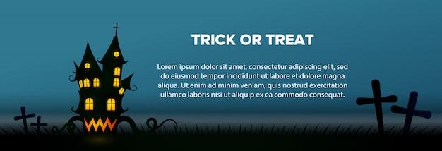 Texto de truco o trato con banner de casa embrujada y cementerio vector gratuito