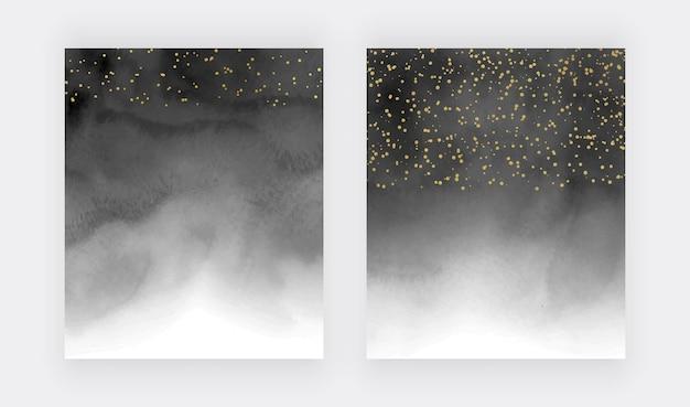 Textura de acuarela de tinta de alcohol negro con confeti dorado Vector Premium