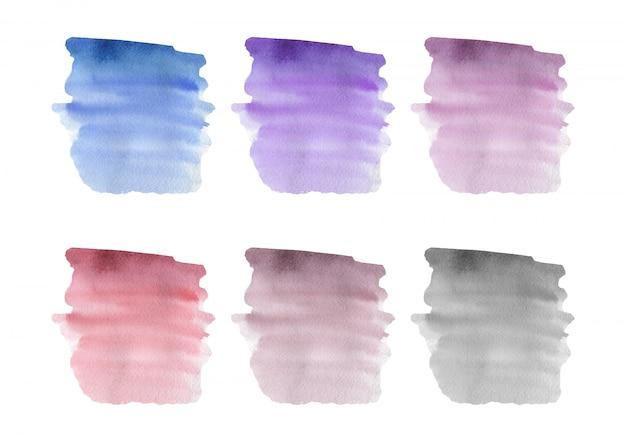 Textura de acuarela de trazo de pincel azul, rosa, púrpura. ilustración vectorial Vector Premium