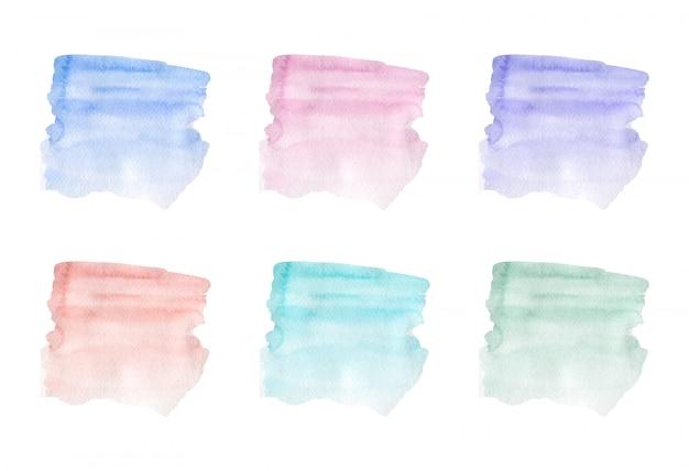 Textura de acuarela de trazo de pincel azul, rosa, púrpura y verde. ilustración vectorial Vector Premium