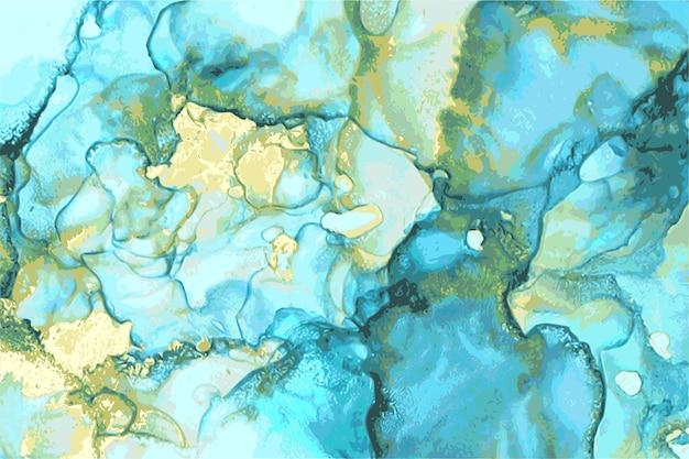 Textura de mármol de piedra abstracta azul, verde y oro en técnica de tinta de alcohol con brillo. Vector Premium