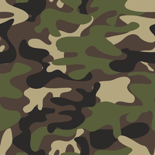Textura militar camuflaje repite la caza verde del ejército sin fisuras. Vector Premium