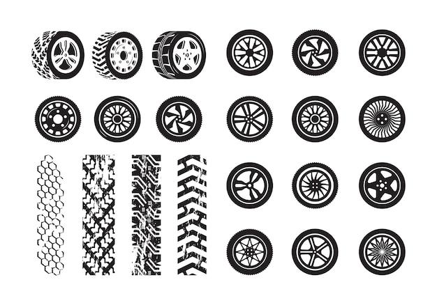 Textura de neumáticos. plantilla de siluetas de imagen de neumáticos de goma de rueda de coche. ilustración llanta y rueda goma silueta coche Vector Premium