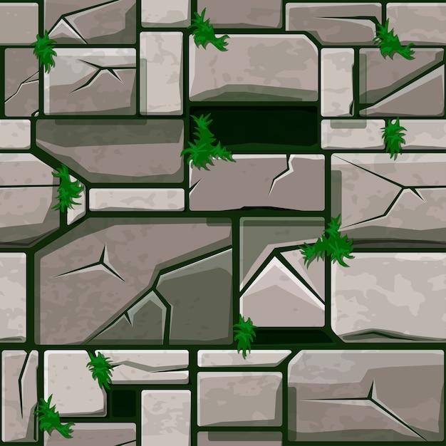 Textura de piedra sin fisuras en la hierba, azulejos de pared de piedra de fondo. Vector Premium