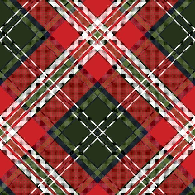 Textura de tela sin costura cuadros verde rojo Vector Premium