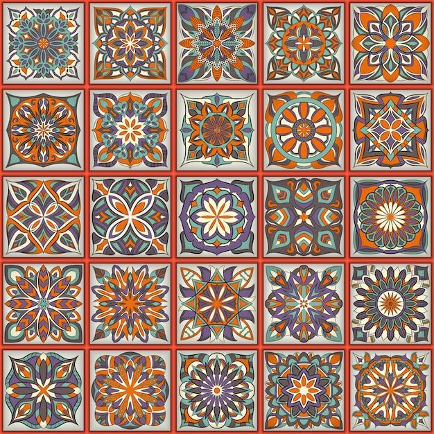 Textura transparente floral adornada, patrón interminable con elementos vintage mandala. Vector Premium