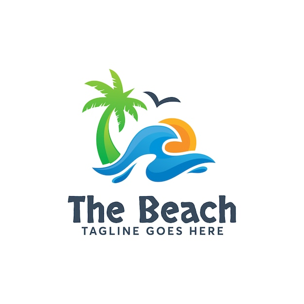 The beach logo template diseño moderno vacaciones de verano Vector Premium