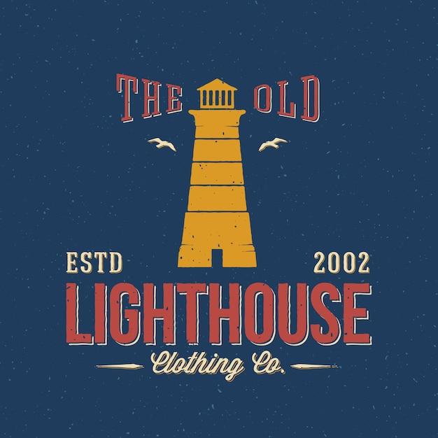 The old lighthouse clothing co. etiqueta náutica abstracta retro o plantilla de logotipo Vector Premium