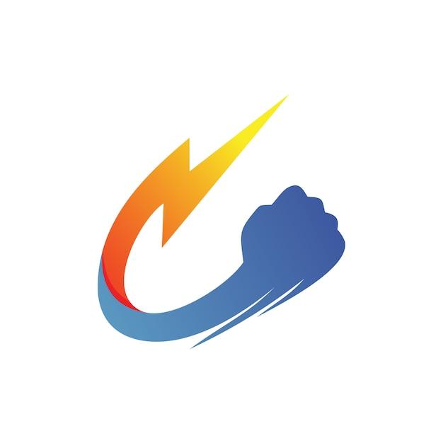 Thunder fist logo vector Vector Premium