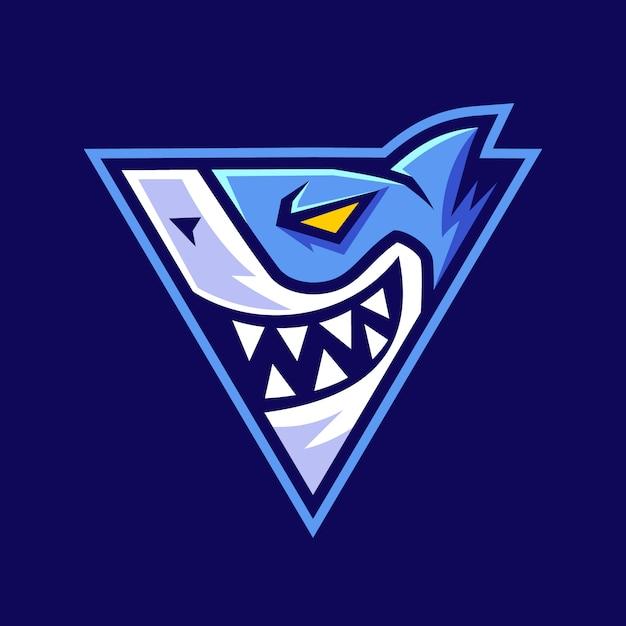 Tiburón en diseño de logotipo en forma de triángulo Vector Premium