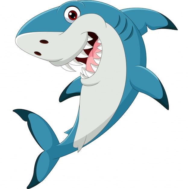 Tiburón gracioso de dibujos animados aislado en blanco Vector Premium