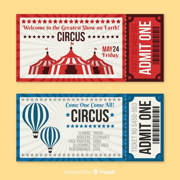 Ticker vintage de circo vector gratuito
