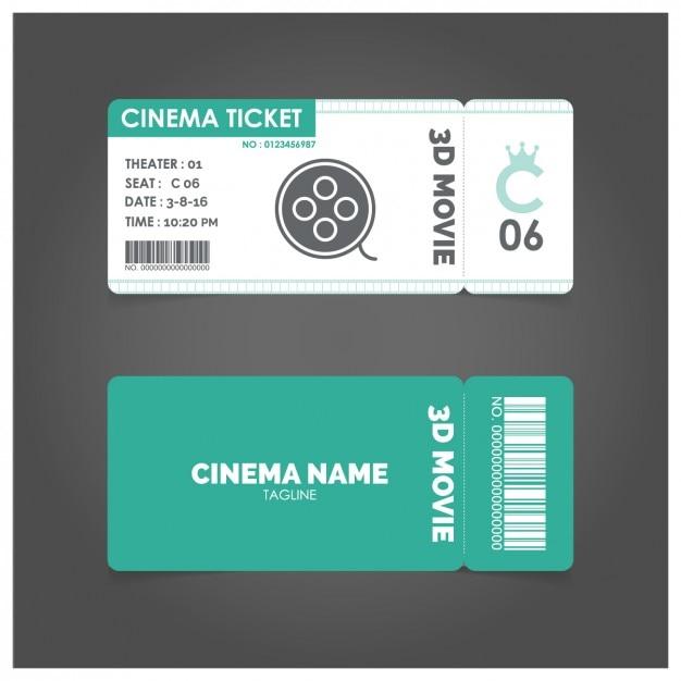 Ticket de cine con detalles en verde vector gratuito