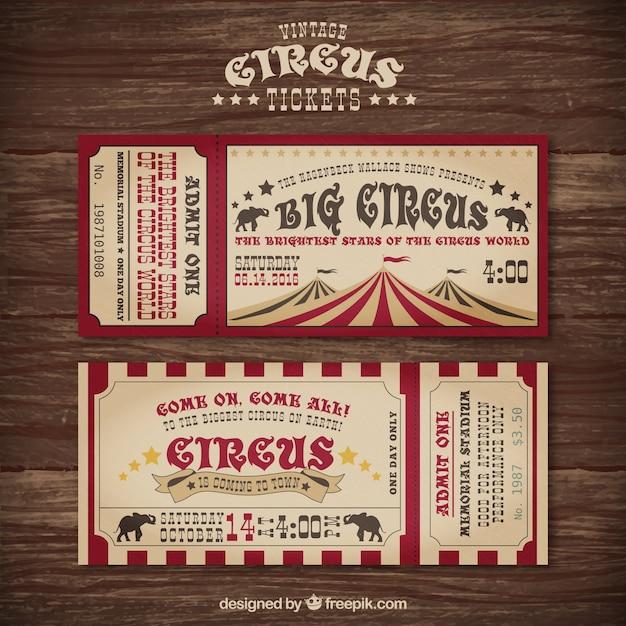 Tickets de circo en un diseño vintage vector gratuito