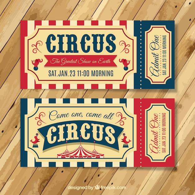 Tickets vintage de circo vector gratuito