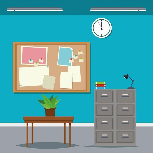 Tiempo de trabajo escritorio mesa gabinete archivo reloj planta ...