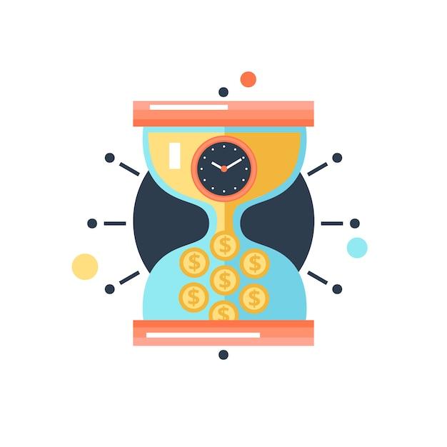 Tiempo dinero conceptual metáfora ilustración icono vector gratuito